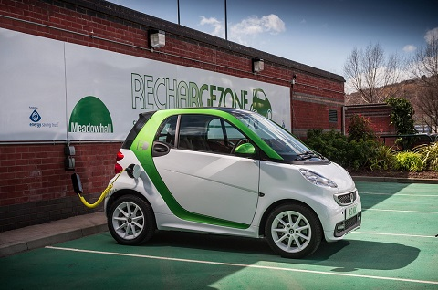 Smart ForTwo charging at a parking bay