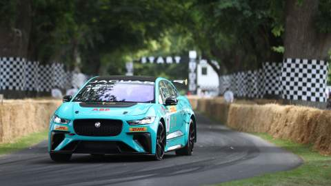 A Jaguar iPace on the race track