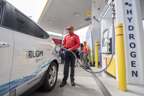 A hydrogen vehicle being refuelled