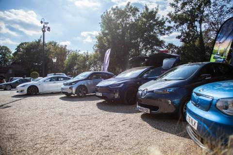 line up of many electric vehicles