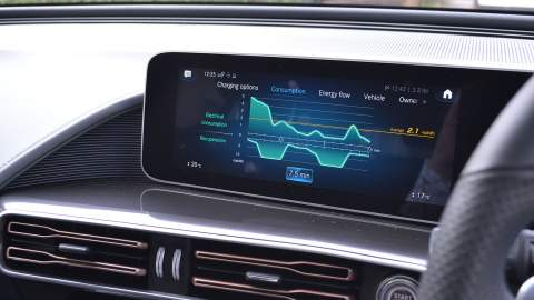 Mercedes-Benz EQC screen showing consuption