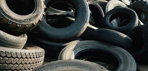 Old pile of tyres