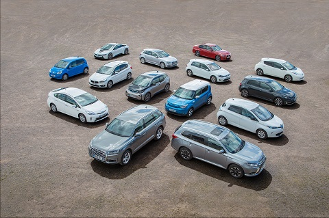 Collection of different electric vehicles