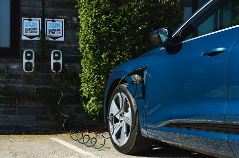An Audi e-tron at a charging point