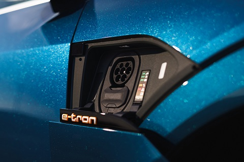 Close view of an Audi e-tron charging inlet
