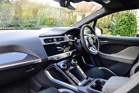 Jaguar I-PACE electric SUV interior-front view from  passenger side