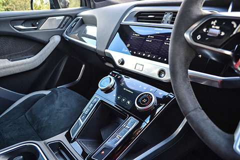 Jaguar I-PACE electric SUV interior view from driver side