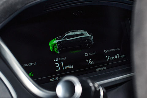 Jaguar I-PACE electric SUV dashboard close view