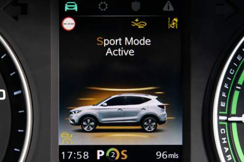 Screen showing active driving mode