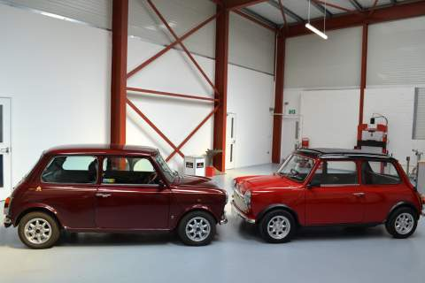 The E Classic and the Mk 5 Austin Mini side by side