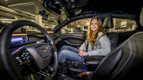 Louise in the Ford Mustang Mach-E