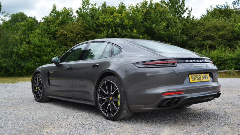 Rear side view of the Panamera