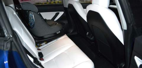 Tesla Model 3 Performance white leather interior front