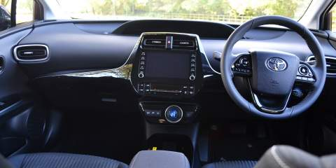 Front interior of the Prius