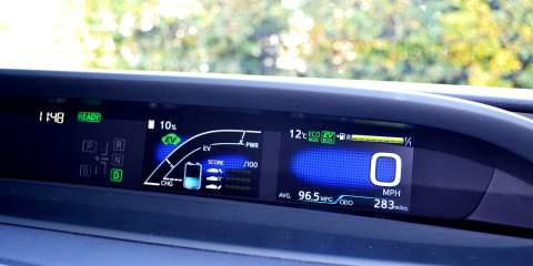 A screen in the car showing the range