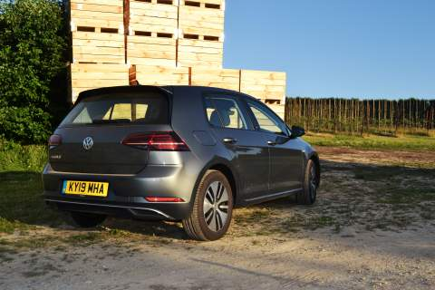 Rear 3/4 of the Volkswagen e-Golf